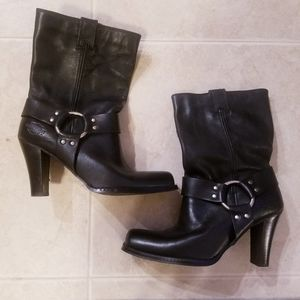Harley Davidson womans black leather boots